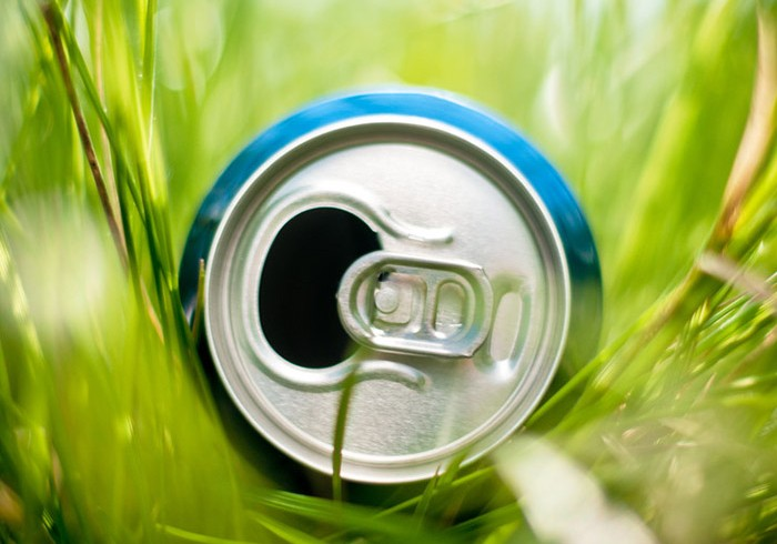 aluminum can in grass